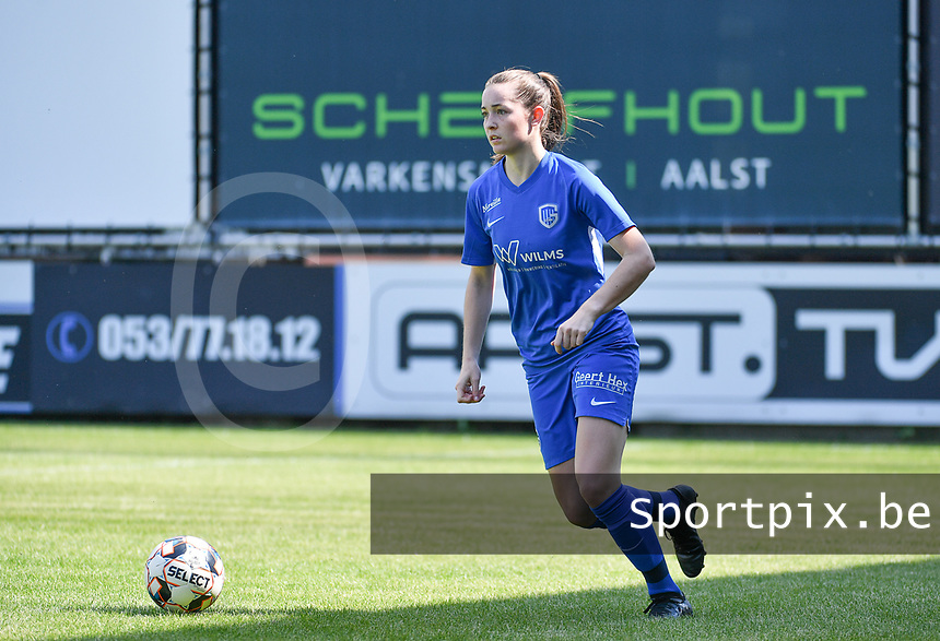 defender Sterre Gielen (14) of KRC Genk pictured during a female soccer game between Eendracht Aalst and Racing Genk on the 10 th and last matchday of play off 2 of the 2020 - 2021 season of Belgian Scooore Womens Super League , Saturday 29 st of May 2021  in Aalst , Belgium . PHOTO SPORTPIX.BE | SPP | DAVID CATRY