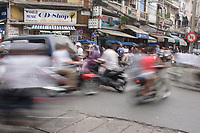 Hanoi<br /> , Vietnam - 2007 File Photo -<br /> <br /> <br /> artistic motion blur of  vietnameses driving a motorcycles in a street of hanoi.<br /> <br /> <br /> photo : James Wong-  Images Distribution