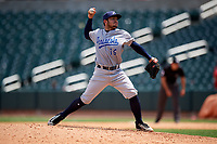 Pensacola Blue Wahoos relief pitcher Alberti Chavez (16) delivers a pitch during a game against the Birmingham Barons on May 9, 2018 at Regions Field in Birmingham, Alabama.  Birmingham defeated Pensacola 16-3.  (Mike Janes/Four Seam Images)