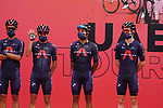 Ineos Grenadiers at sign on before the start of Stage 5 of the 2021 UAE Tour running 170km from Fujairah to Jebel Jais, Fujairah, UAE. 25th February 2021.  <br /> Picture: Eoin Clarke   Cyclefile<br /> <br /> All photos usage must carry mandatory copyright credit (© Cyclefile   Eoin Clarke)