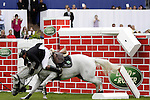August 08, 2009: Alex Duffy (IRL) is thrown from his mount Courtown after crashing through the wall. Land Rover International Puissance. Failte Ireland Horse Show. The RDS, Dublin, Ireland.