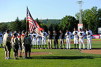 Jamestown Jammers national anthem presentation before a game against the Williamsport Crosscutters on June 20, 2013 at Russell Diethrick Park in Jamestown, New York.  Jamestown defeated Williamsport 12-6.  (Mike Janes/Four Seam Images)
