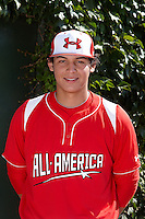 Catcher Alex Jackson #25 of Rancho Bernardo High School in Escondido, California poses for a photo before participating in the Under Armour All-American Game powered by Baseball Factory at Wrigley Field on August 18, 2012 in Chicago, Illinois.  (Mike Janes/Four Seam Images)