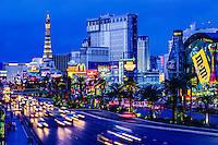 "Las Vegas, Nevada.  Las Vegas Boulevard (""The Strip"") after Sunset."