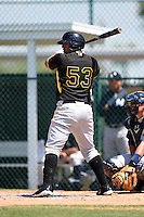 Pittsburgh Pirates infielder Jose Osuna (53) during a minor league spring training game against the New York Yankees on March 22, 2014 at Pirate City in Bradenton, Florida.  (Mike Janes/Four Seam Images)