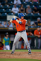 St. Lucie Mets Dan Rizzie (9) bats during a Florida State League game against the Bradenton Barbanegras on July 27, 2019 at LECOM Park in Bradenton, Florida.  Bradenton defeated St. Lucie 3-2.  (Mike Janes/Four Seam Images)