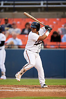 Frederick Keys first baseman Wilson Garcia (50) at bat during the second game of a doubleheader against the Lynchburg Hillcats on June 12, 2018 at Nymeo Field at Harry Grove Stadium in Frederick, Maryland.  Frederick defeated Lynchburg 8-1.  (Mike Janes/Four Seam Images)