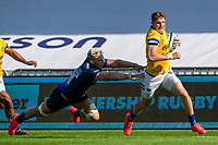 13th September 2020; AJ Bell Stadium, Salford, Lancashire, England; English Premiership Rugby, Sale Sharks versus Bath; Ruaridh McConnochie of Bath Rugby runs in an equalising try to make the score 7-7