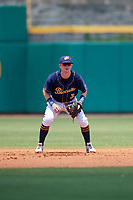 Montgomery Biscuits shortstop Jake Cronenworth (3) during a game against the Biloxi Shuckers on May 8, 2018 at Montgomery Riverwalk Stadium in Montgomery, Alabama.  Montgomery defeated Biloxi 10-5.  (Mike Janes/Four Seam Images)