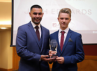 Pictured: Under 14 winner Joshua Edwards (R) Saturday 27 May 2017<br /> Re: Swansea City FC Academy Awards Evening at the Liberty Stadium, Wales, UK