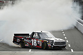 NASCAR Camping World Truck Series <br /> Texas Roadhouse 200<br /> Martinsville Speedway, Martinsville VA USA<br /> Saturday 28 October 2017<br /> Noah Gragson, Switch Toyota Tundra celebrates the win with a burn out<br /> World Copyright: Scott R LePage<br /> LAT Images<br /> ref: Digital Image lepage-171028-mart-4364