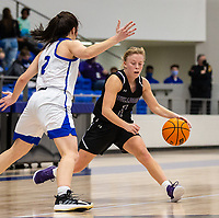 Claudia Bridges (1) of Fayetteville bring the ball up court as Aubrey Treadwell (2) of Rogers blocks the way at King Arena, Rogers, AR January 8, 2021 / Special to NWA Democrat-Gazette/ David Beach