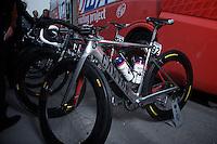 new customised bike for tripple world champion Oscar Freire.74th Gent-Wevelgem (2012).236km between Deinze & Wevelgem.winner 2012: Tom Boonen..