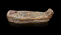 Ancient Egyptian wooden sarcophagus - the tomb of Tagiaset, Iuefdi, Harwa circa 7th cent BC - Thebes Necropolis. Egyptian Museum, Turin. black background
