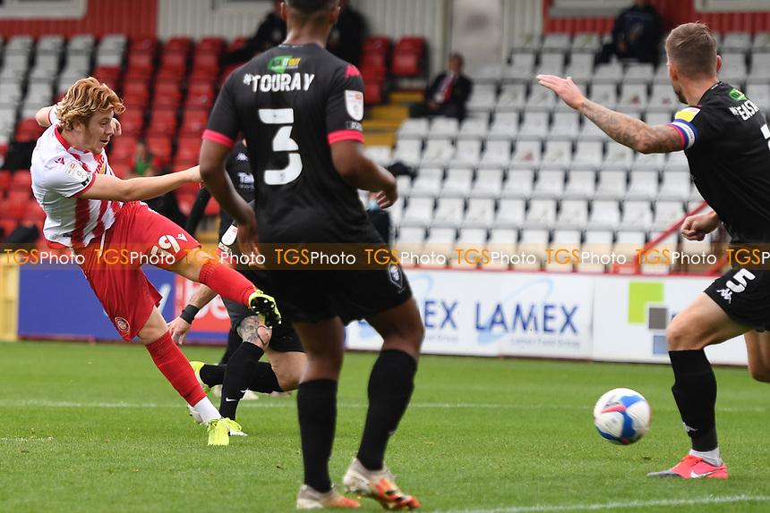 Arthur Read of Stevenage F.C. shoots wide during Stevenage vs Salford City, Sky Bet EFL League 2 Football at the Lamex Stadium on 3rd October 2020