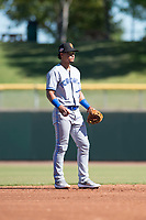 Surprise Saguaros shortstop Santiago Espinal (6), of the Toronto Blue Jays organization, during an Arizona Fall League game against the Scottsdale Scorpions at Scottsdale Stadium on October 26, 2018 in Scottsdale, Arizona. Surprise defeated Scottsdale 3-1. (Zachary Lucy/Four Seam Images)