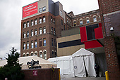 April 18, 2020<br /> Brooklyn, New York<br /> Park Slope<br /> <br /> NewYork-Presbyterian Brooklyn Methodist Hospital with a white tent set outside to use for crononavirus intake patients