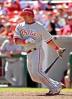 23 September 2007: Philadelphia Phillies catcher Carlos Ruiz in action against the Washington Nationals at Robert F. Kennedy Memorial Stadium in Washington, DC. The Nationals defeated the visiting Phillies 5-3 to close out the 2007 home season and the final game in baseball history at RFK Stadium. The Nationals will open up the 2008 season at Nationals Park, their new facility currently under construction.. .Mandatory Photo Credit: Ed Wolfstein Photo