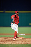 Clearwater Threshers relief pitcher McKenzie Mills (27) delivers a pitch during a game against the Florida Fire Frogs on June 1, 2018 at Spectrum Field in Clearwater, Florida.  Florida defeated Clearwater 12-10.  (Mike Janes/Four Seam Images)
