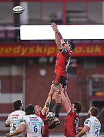26th March 2021; Kingsholm Stadium, Gloucester, Gloucestershire, England; English Premiership Rugby, Gloucester versus Exeter Chiefs; Matias Alemanno of Gloucester wins the lineout ball