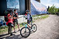 Tanel Kangert (EST/BikeExchange) interviewed post-race by former pro Bernie Eisel for GCN/Eurosport<br /> <br /> 104th Giro d'Italia 2021 (2.UWT)<br /> Stage 19 from Abbiategrasso to Alpe di Mera (Valsesia)(176km)<br /> <br /> ©kramon