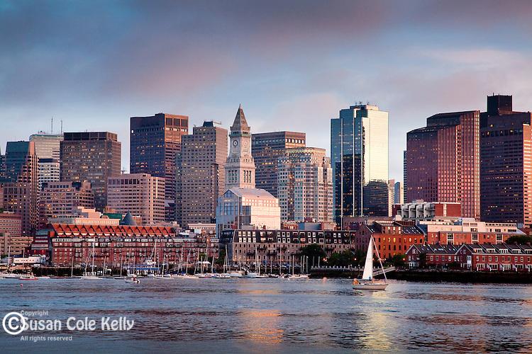 Sunset Sail on Boston Harbor, Boston, MA, USA