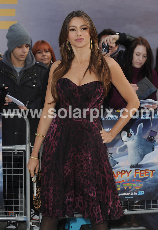 **ALL ROUND PICTURES FROM SOLARPIX.COM**                                             **WORLDWIDE SYNDICATION RIGHTS**                                                                                  European premiere of  'Happy Feet Two' at the Empire Leicester Square on November 20, 2011 in London, England.                                                                           .This pic:     Sofia Vergara                                                                                     JOB REF:     14214   LNJ       DATE:   20.11.11                                                         **MUST CREDIT SOLARPIX.COM OR DOUBLE FEE WILL BE CHARGED**                                                                      **MUST AGREE FEE BEFORE ONLINE USAGE**                               **CALL US ON: +34 952 811 768 or LOW RATE FROM UK 0844 617 7637**