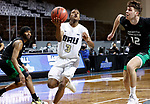 SIOUX FALLS, SD - MARCH 7: Max Abmas #3 of the Oral Roberts Golden Eagles lays the ball up past Filip Rebraca #12 of the North Dakota Fighting Hawks during the Summit League Basketball Tournament at the Sanford Pentagon in Sioux Falls, SD. (Photo by Richard Carlson/Inertia)