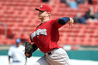 Lehigh Valley IronPigs pitcher David Purcey #48 delivers a pitch during a game against the Buffalo Bisons at Coca-Cola Field on April 19, 2012 in Buffalo, New York.  Lehigh Valley defeated Buffalo 8-4.  (Mike Janes/Four Seam Images)