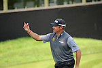 ISPS Handa Wales Open Golf final day at the Celtic Manor Resort in Newport, UK. :  Lee Westwood of England throws his ball to the crowd as he walks off the 18th green after finishing his round.