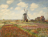 Claude Monet - A Field of Tulips in Holland (1886). Paris, musée d'Orsay.
