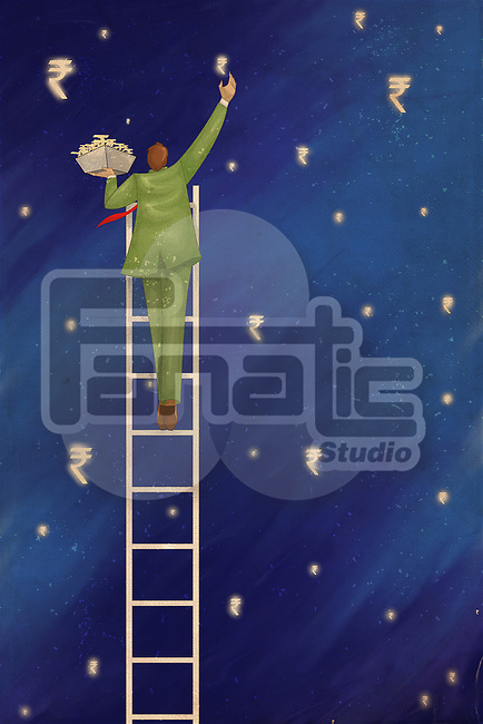 Illustration of businessman on ladder collecting Indian currency symbols representing profit