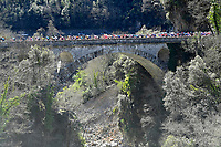14th March 2021, Levens, France;  The peloton during stage 8 of the 79th edition of the 2021 Paris - Nice cycling race, a stage of 92,7 kms between Plan-du-Var and Levens on March 14, 2021 in Levens, France