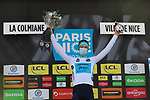 Aleksandr Vlasov (RUS) Astana-Premier Tech retains the young riders White Jersey at the end of Stage 7 of Paris-Nice 2021, running 119.2km from Le Broc to Valdeblore La Colmiane, France. 13th March 2021.<br /> Picture: ASO/Fabien Boukla | Cyclefile<br /> <br /> All photos usage must carry mandatory copyright credit (© Cyclefile | ASO/Fabien Boukla)