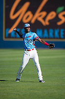 Spokane Indians right fielder Starling Joseph (39) prepares to make a throw to the infield during a Northwest League game against the Vancouver Canadians at Avista Stadium on September 2, 2018 in Spokane, Washington. The Spokane Indians defeated the Vancouver Canadians by a score of 3-1. (Zachary Lucy/Four Seam Images)