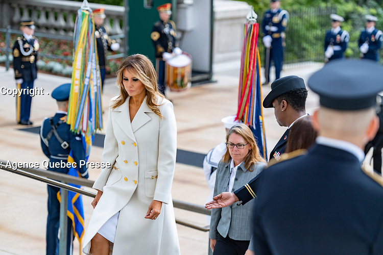 First Lady Melania Trump arrives at the National Memorial Day Observance at Arlington National Cemetery, Arlington, Virginia, May 25, 2020. This was the 152nd Memorial Day wreath-laying and observance ceremony at Arlington National Cemetery. (U.S. Army photo by Elizabeth Fraser / Arlington National Cemetery / released)
