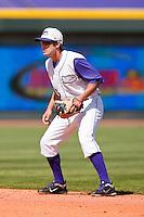 Second baseman Daniel Wagner #5 of the Winston-Salem Dash on defense against the Kinston Indians at BB&T Ballpark on April 17, 2011 in Winston-Salem, North Carolina.   Photo by Brian Westerholt / Four Seam Images