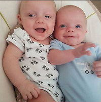 Pictured: Two of the triplets, two of whom have died in the Wildmill area of Bridgend, Wales, UK. IMAGE TAKEN FROM OPEN FACEBOOK ACCOUNT.<br /> Re: Two five-month old baby boys have died after they were found not breathing at a house in Bridgend.<br /> Emergency services were called to an address in the Wildmill area of the town.<br /> The brothers, who were two of a set of triplets, were taken to the Princess of Wales Hospital where they were later pronounced dead.<br /> The surviving brother is called Ethan, and the mother is called Sarah Owen.<br /> South Wales Police said the deaths were not being treated as suspicious, but as a tragic accident.<br /> Enquiries are continuing into the cause of the deaths.