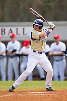 Cody Jones (12) of the Western Carolina Catamounts at bat against the Davidson Wildcats at Wilson Field on March 10, 2013 in Davidson, North Carolina.  The Catamounts defeated the Wildcats 5-2.  (Brian Westerholt/Four Seam Images)
