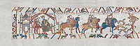 Bayeux Tapestry scene 1 : Edward The confessor send Harold to inform William he will succeed to English Throne.  BYX1