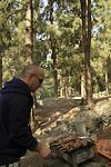 Israel, Mount Carmel, barbeque at Keren Hacarmel forest