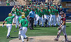 June 4, 2021; Niko Kavadas (12) celebrates his two-run homer with teammates during the opening game against Central Michigan of the NCAA Tournament at Frank Eck Stadium.  Notre Dame won 10-0.  (Photo by Barbara Johnston/University of Notre Dame)