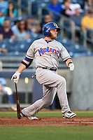 Midland RockHounds third baseman Max Muncy (9) at bat during a game against the Tulsa Drillers on May 31, 2014 at ONEOK Field in Tulsa, Oklahoma.  Tulsa defeated Midland 5-3.  (Mike Janes/Four Seam Images)
