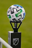SAN JOSE, CA - SEPTEMBER 16: MLS soccer ball on a stand during a game between Portland Timbers and San Jose Earthquakes at Earthquakes Stadium on September 16, 2020 in San Jose, California.