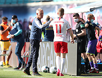 16th May 2020, Red Bull Arena, Leipzig, Germany; Bundesliga football, Leipzig versus FC Freiburg;   After the end of the game Head Coach Christian Streich SCF with Timo Werner RBL