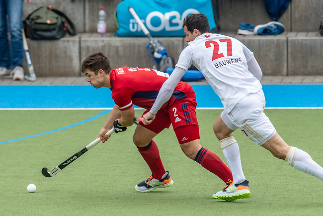 Mannheim, Germany, April 18: During the 1. Bundesliga men fieldhockey match between Mannheimer HC (red) and Rot-Weiss Koeln (white) on April 18, 2021 at Am Neckarkanal in Mannheim, Germany. Final score 1-1 (HT 1-1). (Copyright Dirk Markgraf / www.265-images.com) ***