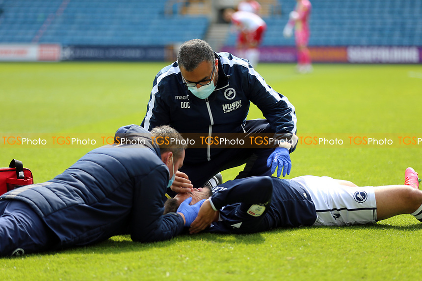 Mason Bennett of Millwall goes down with a head injury during Millwall vs Bristol City, Sky Bet EFL Championship Football at The Den on 1st May 2021
