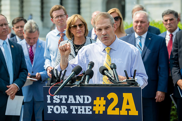 United States Representative Jim Jordan (Republican of Ohio) offers remarks during a press conference regarding an Amicus Brief urging the Supreme Court to overturn a 110 year-old New York gun law that imposes limits on carrying weapons outside of the home, at the US Capitol in Washington, DC, Tuesday, July 20, 2021. Credit: Rod Lamkey / CNP /MediaPunch