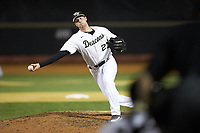 Wake Forest Demon Deacons relief pitcher Antonio Menendez (27) delivers a pitch to the plate against the North Carolina State Wolfpack at David F. Couch Ballpark on April 18, 2019 in  Winston-Salem, North Carolina. The Demon Deacons defeated the Wolfpack 7-3. (Brian Westerholt/Four Seam Images)