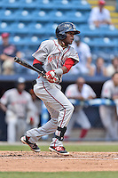 Greenville Drive center fielder Luis Alexander Basabe (19) swings at a pitch during a game against the Asheville Tourists at McCormick Field on July 24, 2016 in Asheville, North Carolina. The Drive defeated the Tourists 12-5. (Tony Farlow/Four Seam Images)